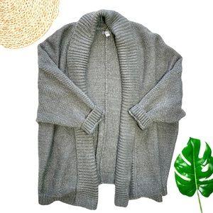 Aerie AEO Gray Silver Sparkle Metallic Oversized Sweater Cardigan Kimono XS / S
